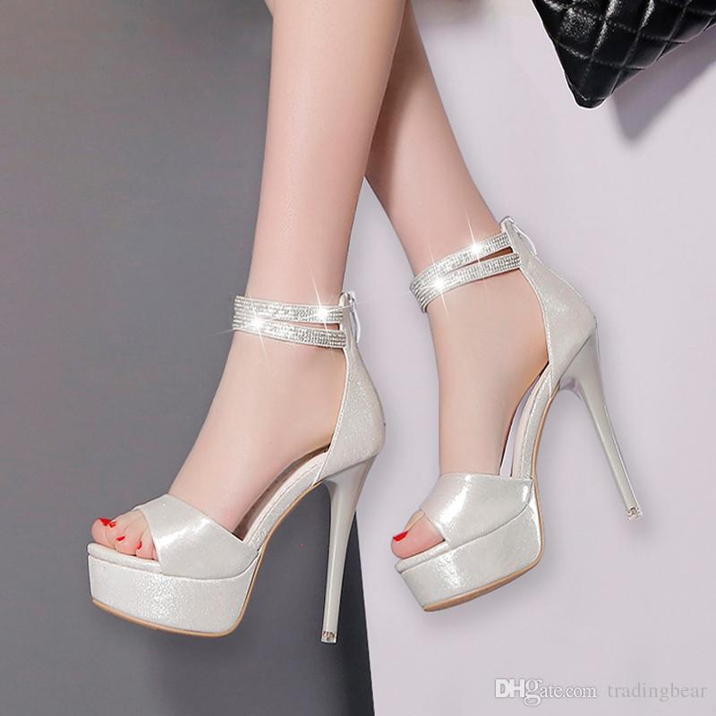 e3ace11077d27 Sexy Rhinestone Silver Wedding Shoes High Heels Ankle Strap Peep Toe Pumps  Ball Prom Dance Size 34 To 39 Blue Shoes Shoe Boots From Tradingbear