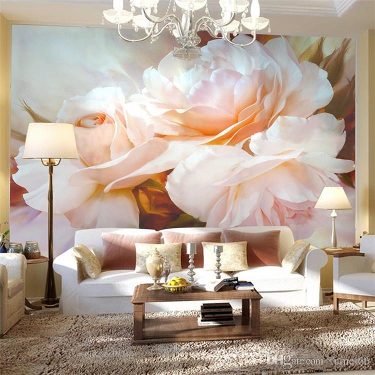 3D Wall Mural Classical Pink Rose Large Mural Custom 3D