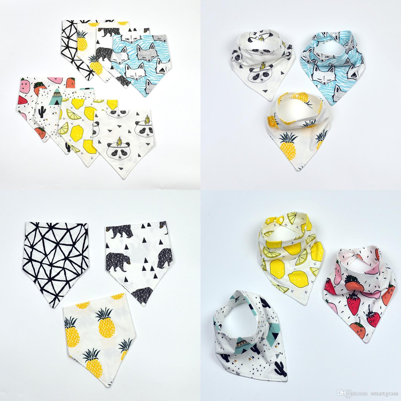 Baby Bibs 10 Patterns Infant Cotton Triangle Burp Cloths Lemon Fox Saliva  Kerchiefs Bandana Baby Bib 17041202