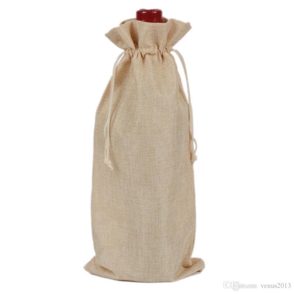 Botella de vino de yute Bolsas de regalo burdeos 16 * 36 cm Decoraciones de vino de navidad bolsas plegables Suministros festivos