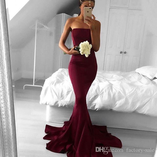 Hot Burgundy Cheap Prom Dresses Sexy Backless Mermaid New Custom Party Occasion Evening Gowns for Holidays BA5124
