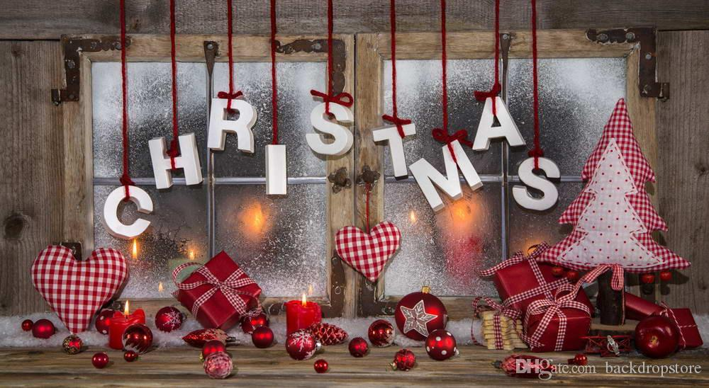 2018 vintage wooden window christmas backdrop for photography digital printed love heart decors red balls xmas tree gift boxes photo background from