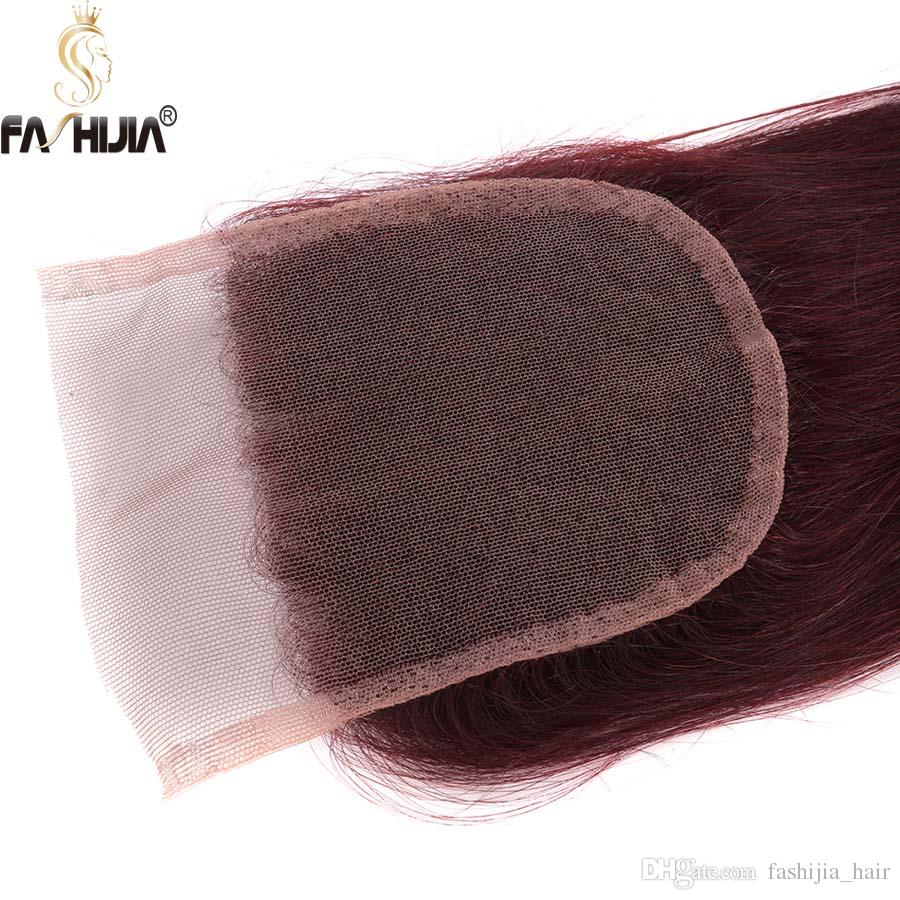 Brazilian straight hair extension Burgundy hair bundles with closure rubin red human hair bleached knots weaves closure for black women