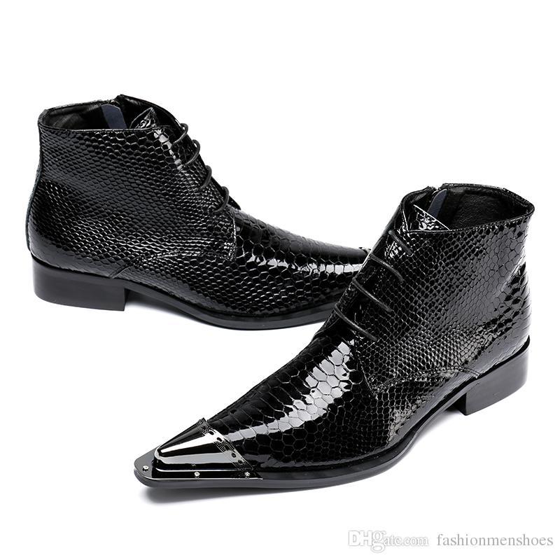 2017 hommes bottes en cuir véritable noir Pointu Toe luxe mode classique business chaussures bureau formelle cheville bottes hommes chaussures mâle