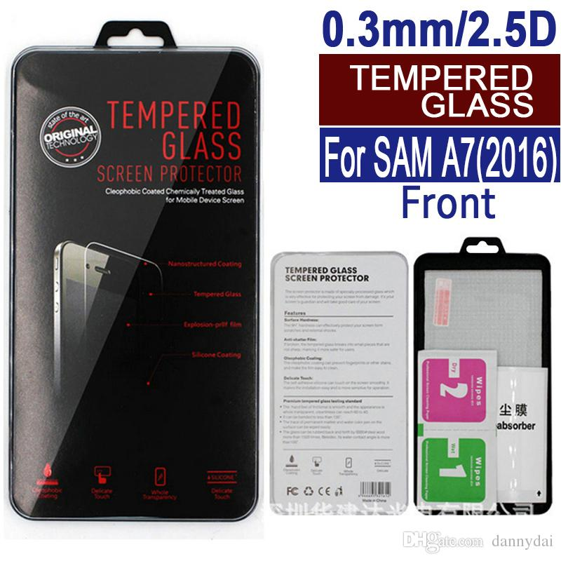 For Samsung A710 A7 2016 Tempered Glass Screen Protector Clear A3 A5 A6 7 A9 Film Protection With Retail Package