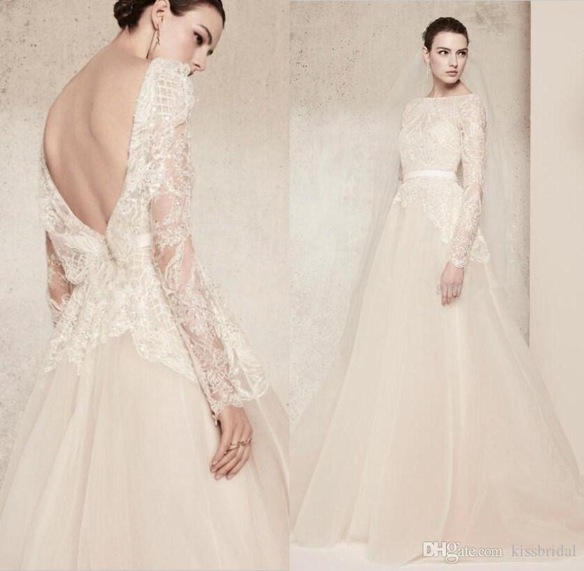 Elie Saab Lace Wedding Dresses Luxury Crystal Long Sleeves Bridal Gowns Bateau Neck Custom Made Bridal Gowns