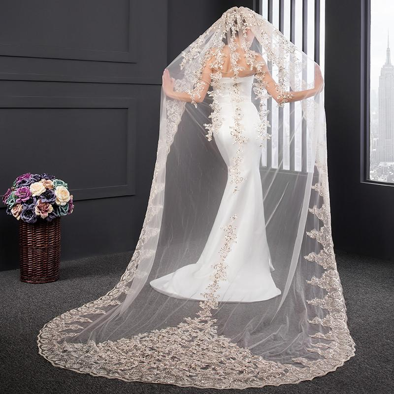 Champagne Wedding Veils 2017 Real Images New Style Sequins