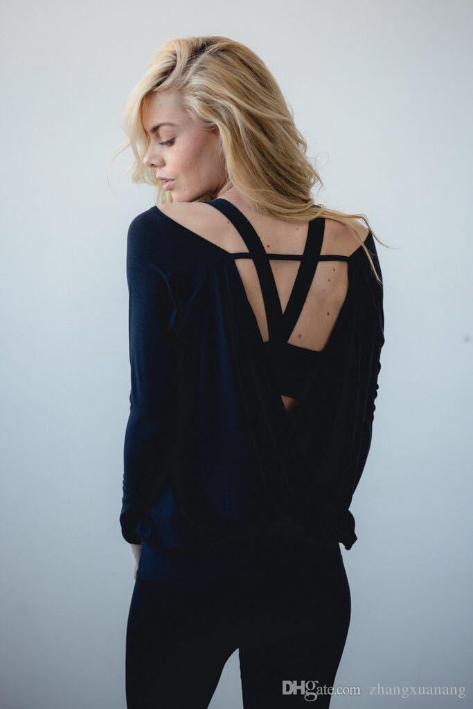 Sexy Backless Running Shirts Women Long Sleeve Fitness Yoga Shirts O-neck Jogging Gym Tees Quick Dry Sport Jersey Tops