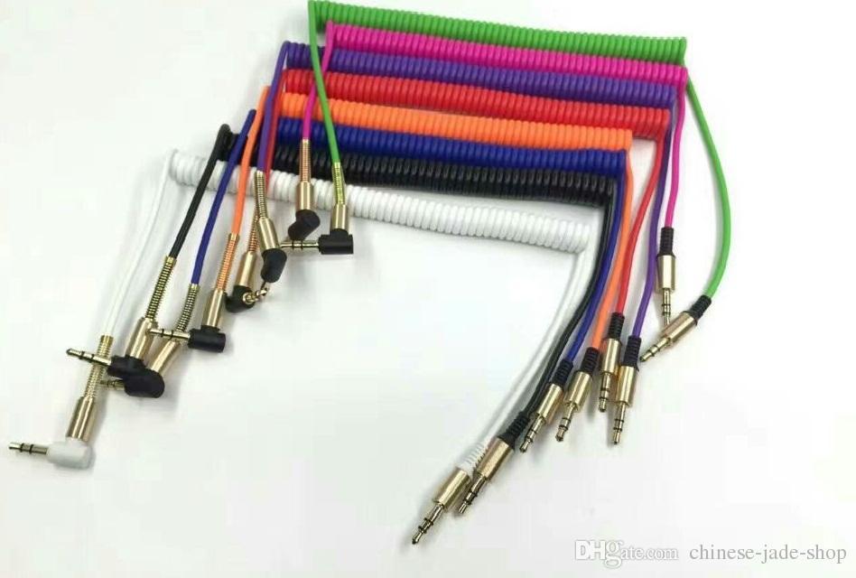 スプリングケーブルLプラグアルミニウムメタルアダプターTPE材料3.5mmステレオオーディオAUXケーブル1m 3フィートスチールスプリングレリーフ100ピース/ロット