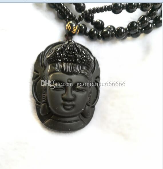 Natural Obsidian Necklace Fashion Black Ruyi Guan Yin Pendant For Women Men Vintage Fine Jade Jewelry Ornaments D6