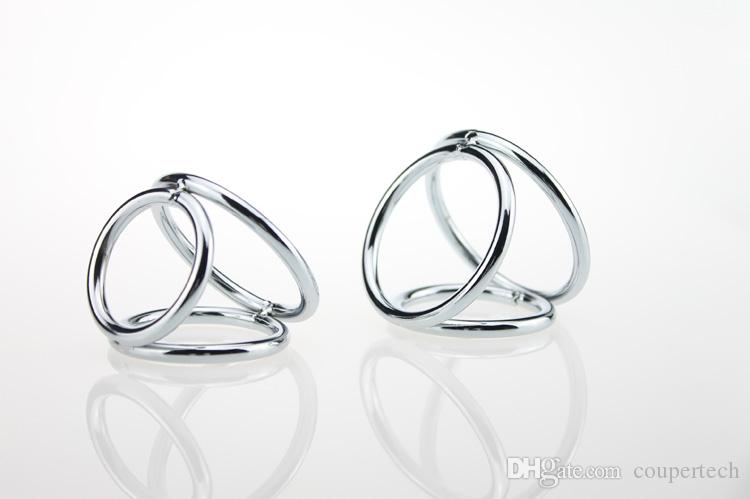 32*40*45mm stainless steel penis ring three rings cock ring metal cock ring ball stretcher sex products for men penis