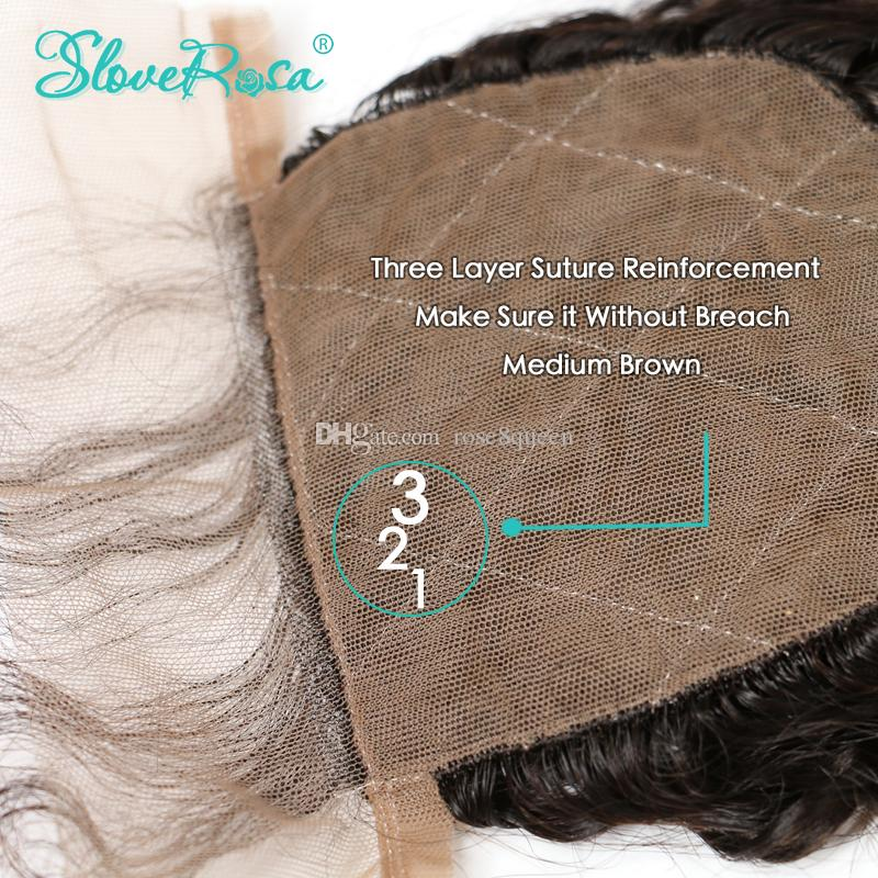 Choshim Slove Rosa Curly Wave Silk Base Closure Free Part Brazilian Remy Human Hair 4x4 Middle Brown Lace Bleached Knots With Baby Hair