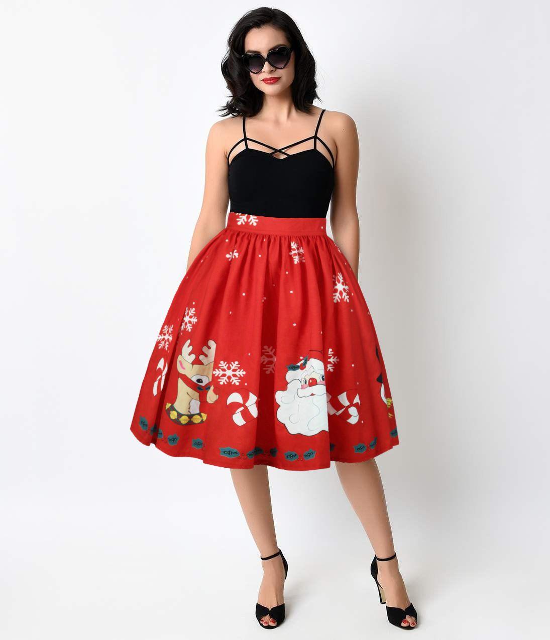 Christmas Series Womens Skirts Cartoon Santa Printing Lady Elegant Party High Waist Skirt Red Tutu Snowflake Skirts
