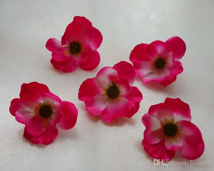 7 cm disponíveis cabeças de flor de papoula de seda Artificial para DIY guirlanda decorativa acessório festa de casamento headware 500 pçs / lote G620