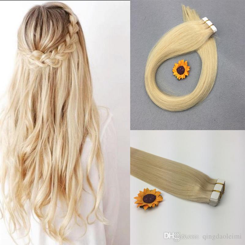 Pu Glue In Hair Extension Straight Remy Human Hair 613 Bleach