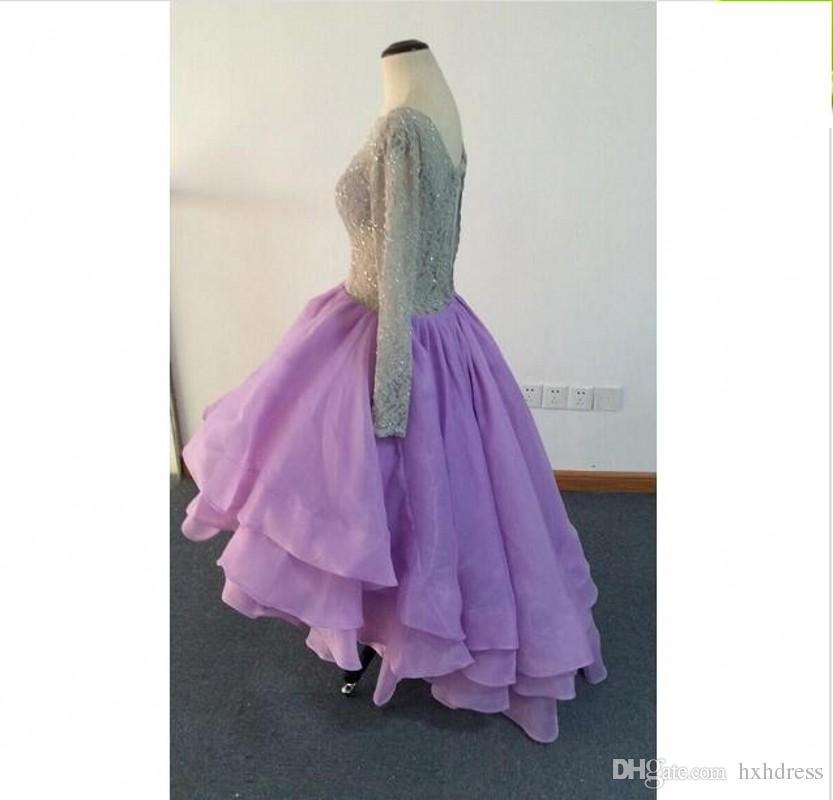 2019 롱 슬리브가 붙은 신제품 실버 레이스 페르시 티 파티 오우자 중동 파티 드레스 Cheap Hi Hi Prom Dresses 143