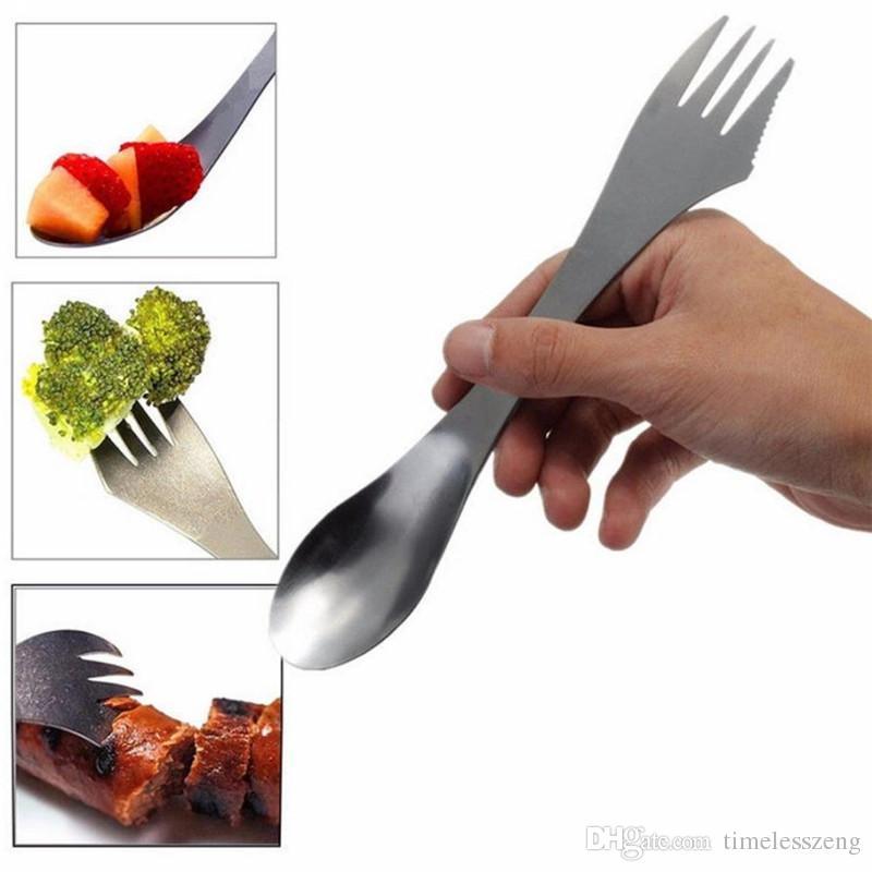 Çatal kaşık spork 3 in 1 sofra Paslanmaz çelik çatal eşyaları kap combo Mutfak açık piknik kepçe / bıçak / çatal seti