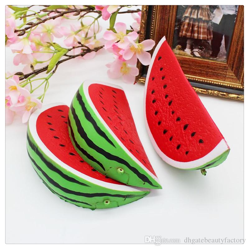 Wholesale New Squishies Jumbo Watermelon Squishy Phone Charms Slow Rising Squishies Bread Cake Kid Toy Gift Phone Straps