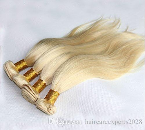 ELIBESS Light Blonde Human Hair Extensions 4 Bundles 100g Piece Virgin Remy Brazilian Human Hair Weft Thick Ends