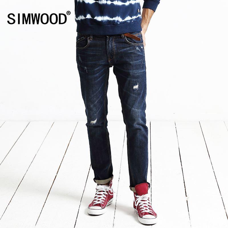 a10af1675e Compre SIMWOOD Nuevo Otoño Invierno Jeans Hombres Longitud Pantalones De  Mezclilla Moda Causal Pantalones Agujero Hip Hop SJ6048 Q170655 A  60.25  Del Tai01 ...