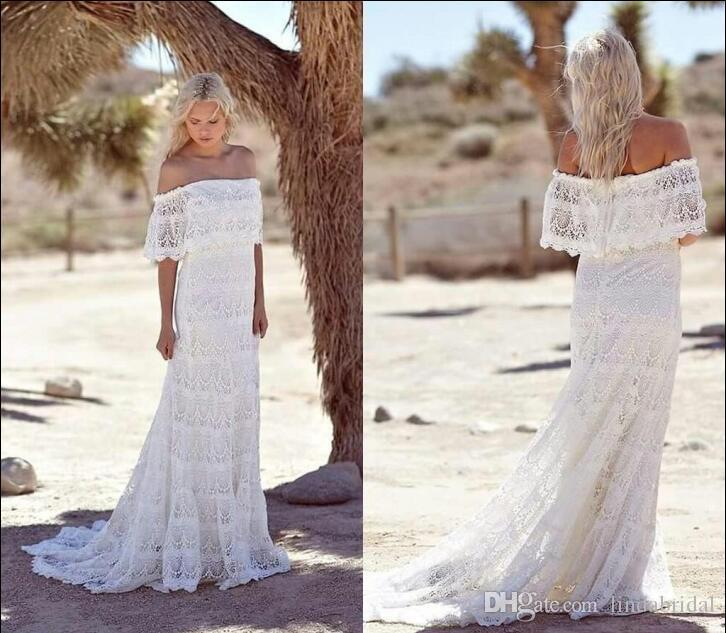 Discount simple country boho wedding dresses off shoulder for Boho country wedding dress
