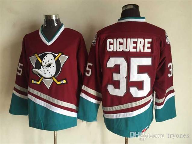 Vintage Anaheim Mighty Ducks Hockey Maglie 8 Teemu Selanne 9 Paul Kariya 35 Jean-Sebastien Giguere 13 Selanne 1998 CCM Jersey