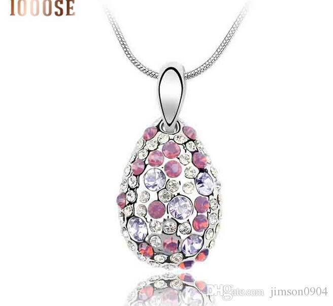 2017 neue 1000SE Qualitätswaren frau Kristall Halskette Cyclamen High-end Anhänger Ornamente großhandel schmuck verkauf