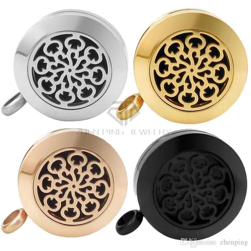 Круглый серебряный / золотой цветок 20-30 мм эфирные масла диффузор из нержавеющей стали кулон духи медальоны ароматерапия медальоны ожерелье