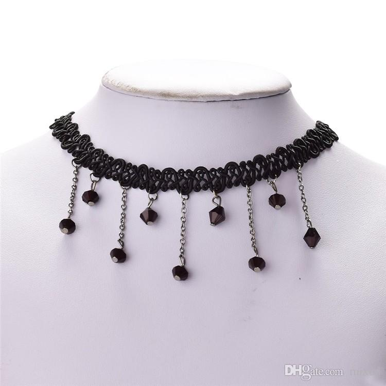Lacking one Christmas Gift Vintage Black Collar Choker Bib Beaded Statement Necklace Pendant Crystal Chain Lace Collares Women Lady Girl