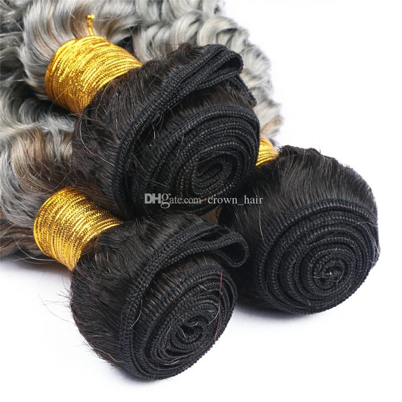 Hot Sale Dark Roots 1B Grey Human Hair 3bundles 10-30 Inch Ombre Color Deep Curly Unprocessed Human Hair Weft Extensions