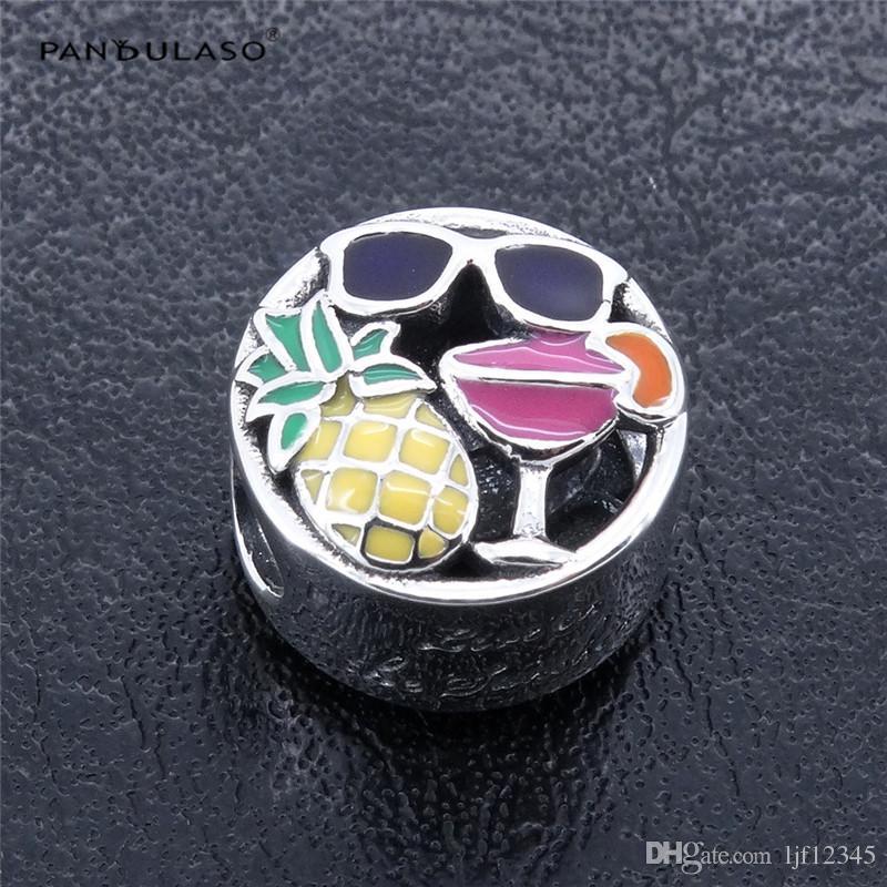 Pandulaso Summer Fun Fruit Beads la realizzazione di gioielli Adatto Pandora charms Bracciali donna Charms fai da te in argento 925 gioielli 2017 Estate