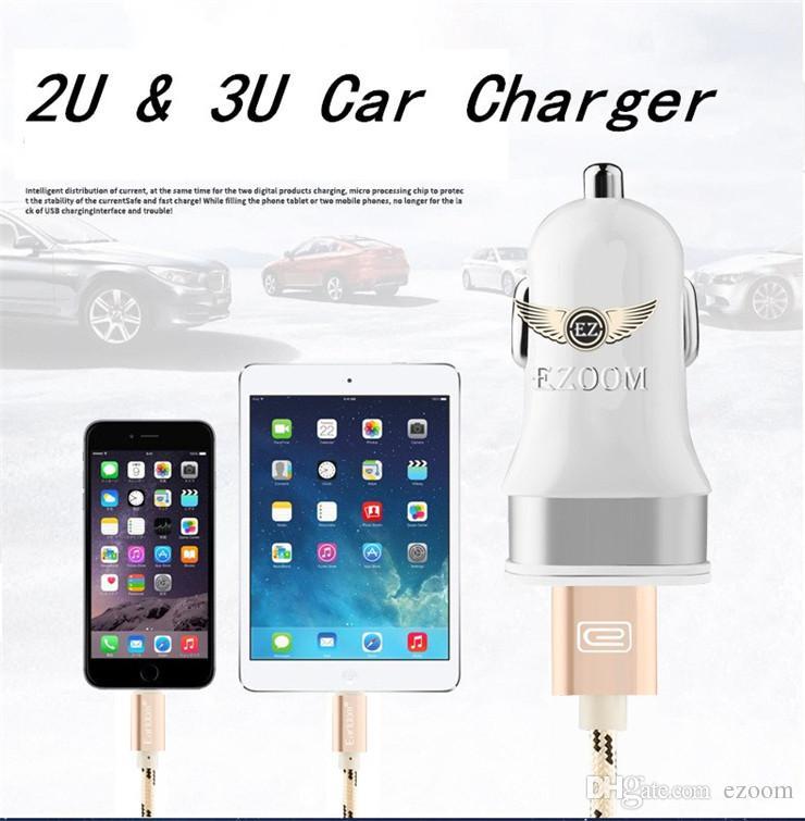 HOT Sale 2U 3U Colorful Mini Car Charger Port 3.1A Micro auto power Adapter Nipple Dual USB For Iphone 8 plus Samsung s7 S8 XIAOMI
