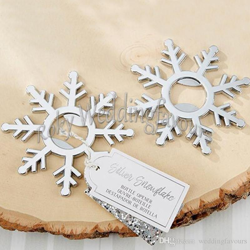 Silver Snowflake Bottle Openers Bridal Shower Wedding Favors Winter