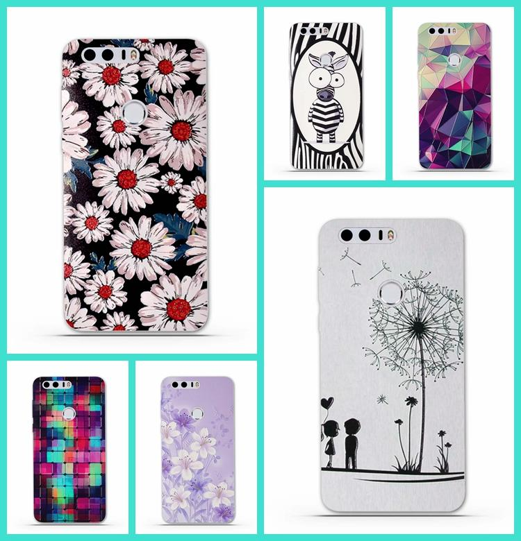 100% authentic 3fc29 694ad Wholesale- Phone Cases for Huawei Honor 8 Case Cover 3D Relief TPU  Protective Soft Silicone Back Cover Funda for Huawei Honor 8 Phone Bag