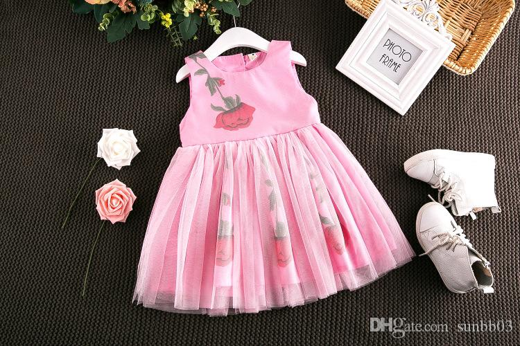 2017 Filles Enfants Floral Imprimer Tulle Dentelle Arc Robe D'été À Volants Rose et Blanc Couleur Princesse Vacances Robes 13082