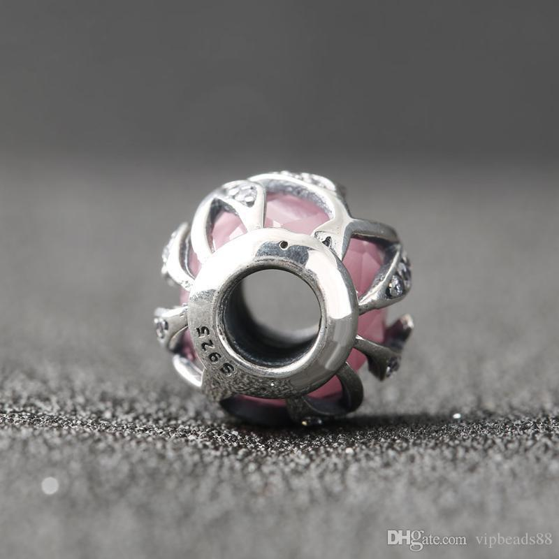 White Pink purple facets interleaved charm beads 100% 925 Sterling-Silver-Jewelry Clear Symbols Bead DIY Bracelets Bangles Accessories