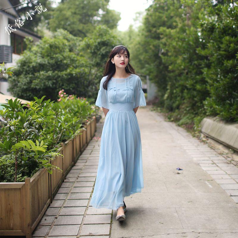 Medieval Renaissance Light Blue And White Gown Dress: Freeship Light Blue Chiffon Bowknot Vintage Medieval Dress