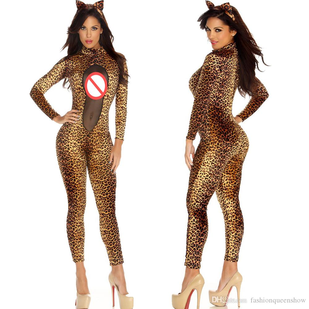 sexy women mesh catsuit leopard bodycon slim jumpsuit catwoman bodysuit halloween cat theme party cosplay costume four person halloween costumes halloween