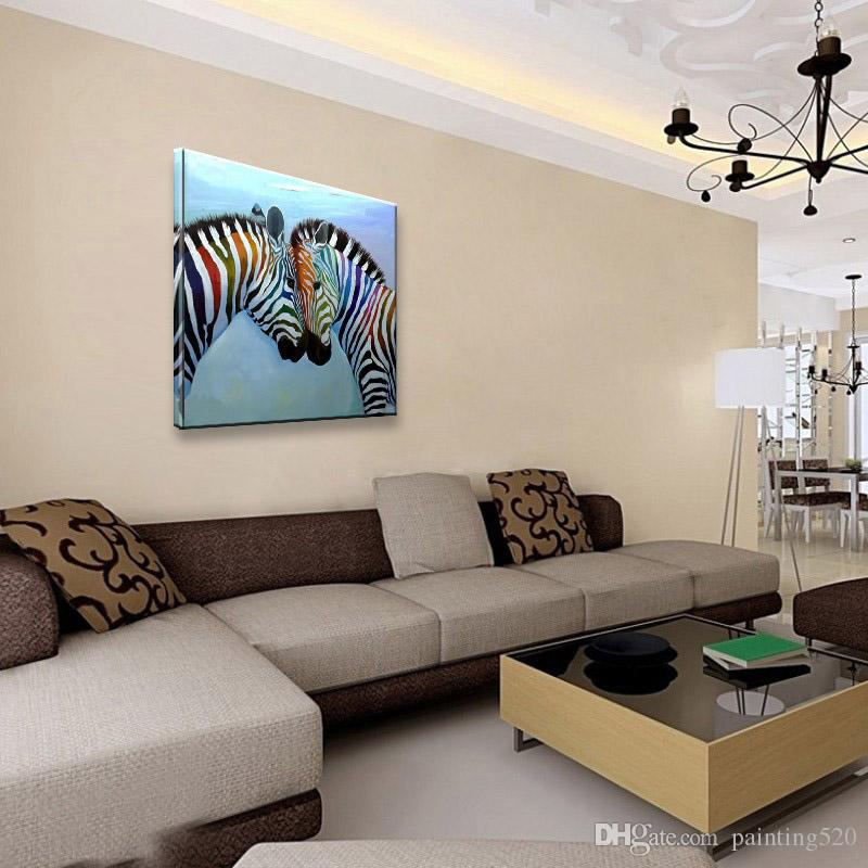 Giraffe 100% hand painted oil painting high quality modern simple home decoration art canvas color fresco JL644