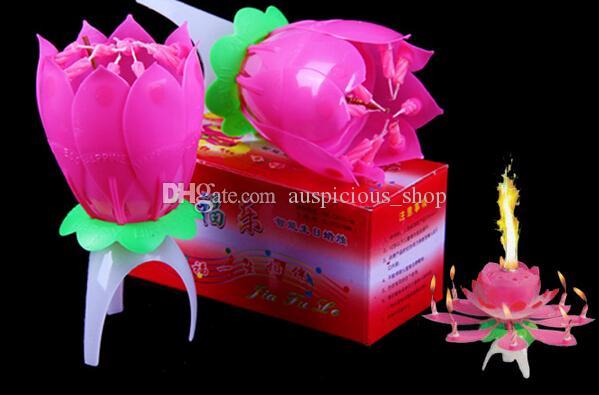 Velas Decorativas Newest Music Candle Birthday Party Wedding Lotus Sparkling Flower Candles Light Event Festive Supplies Ems free