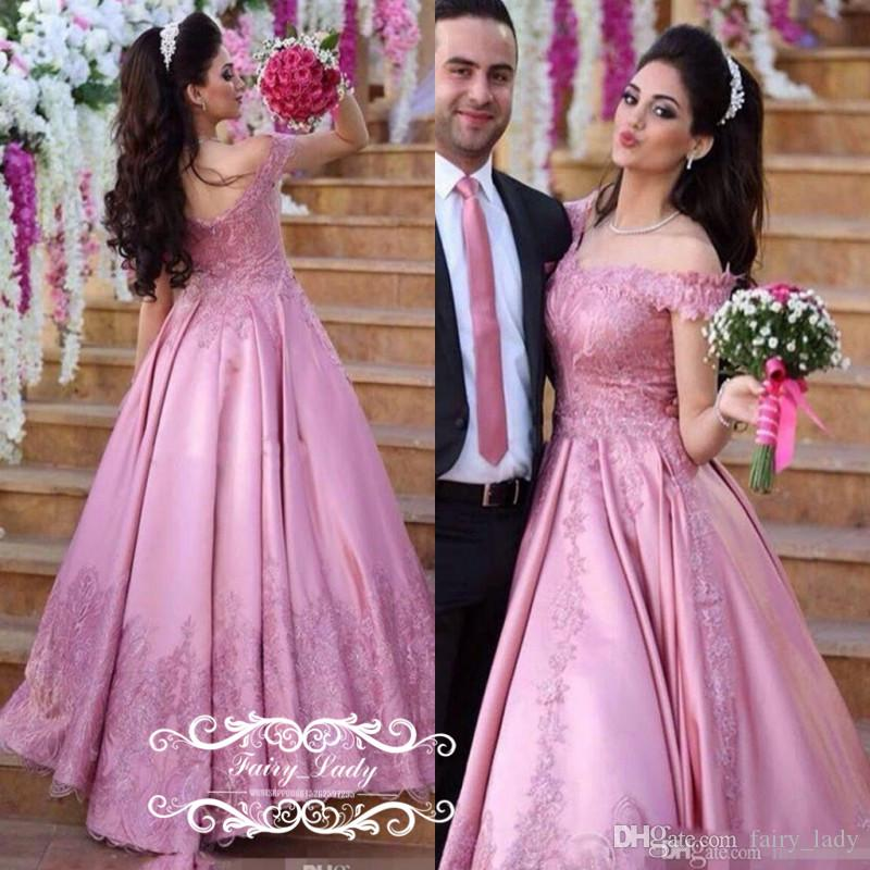 dca384d29b3f0 Puffy A Line Long Pink Lace Evening Dresses With Sleeves 3D Floral Appliques  Beads Elegant Arabic 2017 Middle East Women Party Prom Gown Evening Dresses  ...