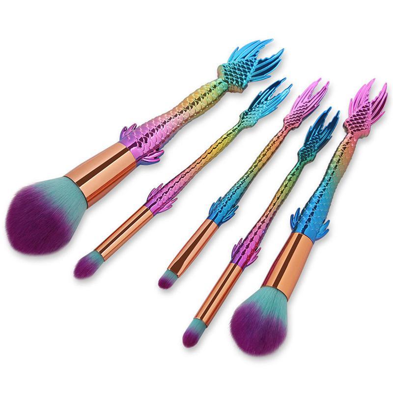 Mermaid Makeup Brush Set 5 Professional Foundation Eyeshadow Powder Contour Cosmetic Beauty Tools Rainbow Make Up Brushes Kit