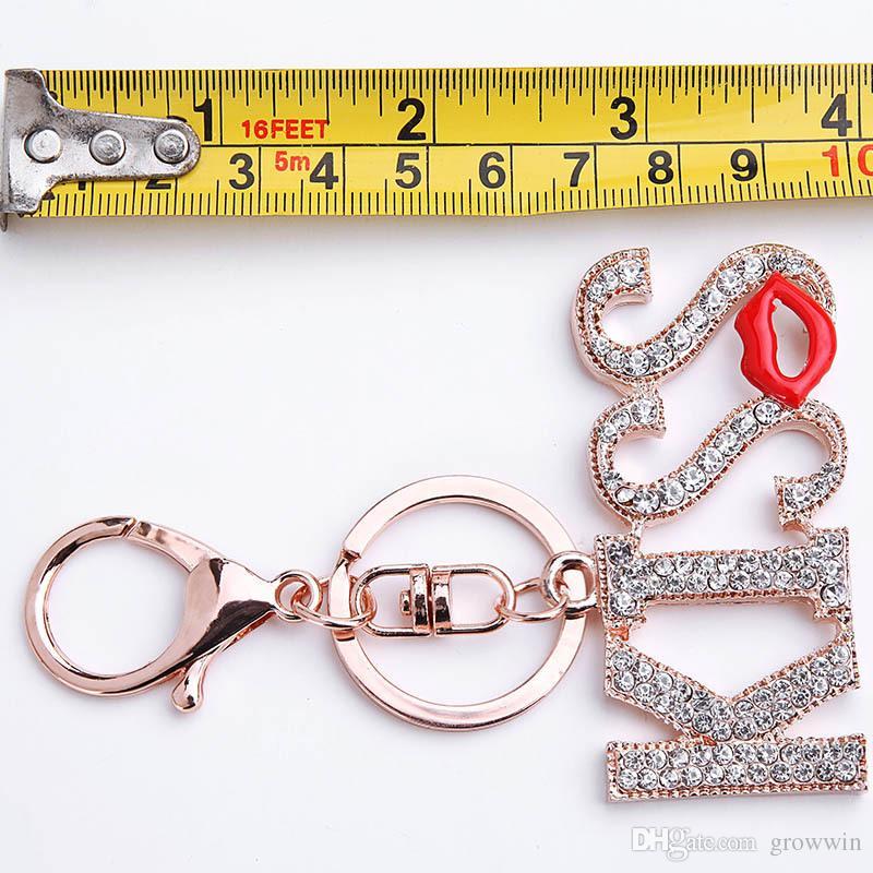Hot Selling Lips KISS Key Chain Ladies Handbag Wallet Car Crystal Diamond Keychain Metal Hanging Accessories D0160
