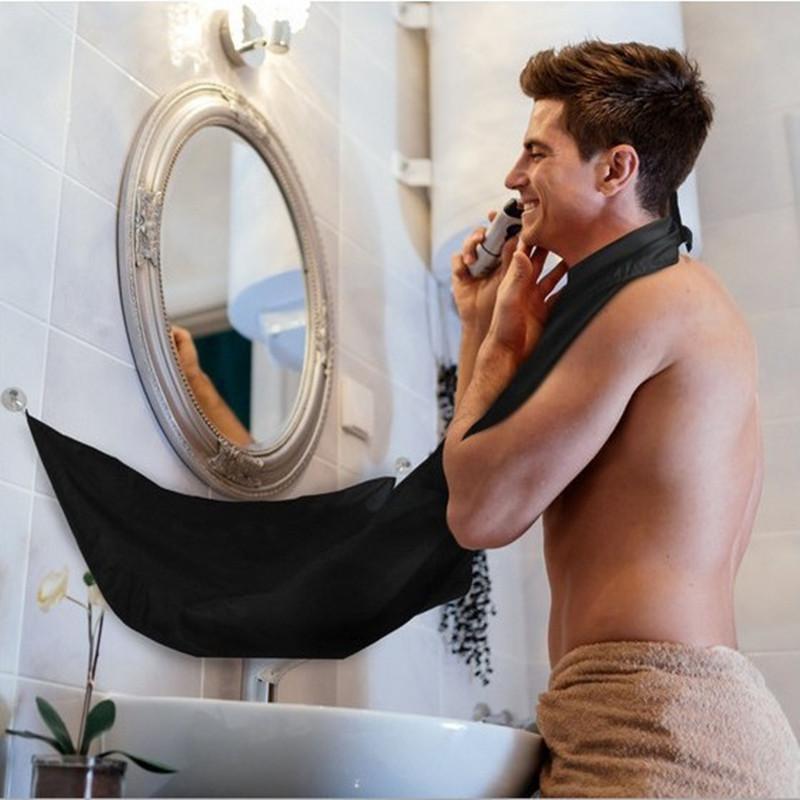 Venta al por mayor nueva Pongee Barba Cuidado Afeitado Delantal Babero Trimmer Facial Cabello Fregadero Color al azar