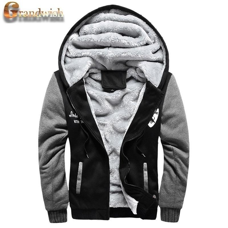 02042597646 2019 Wholesale 2016 New Wool Liner Men S Hooded Winter Outwear Patchwork  Warm Men Sweatshirts Plus Size Exercise Suit Wear For Men