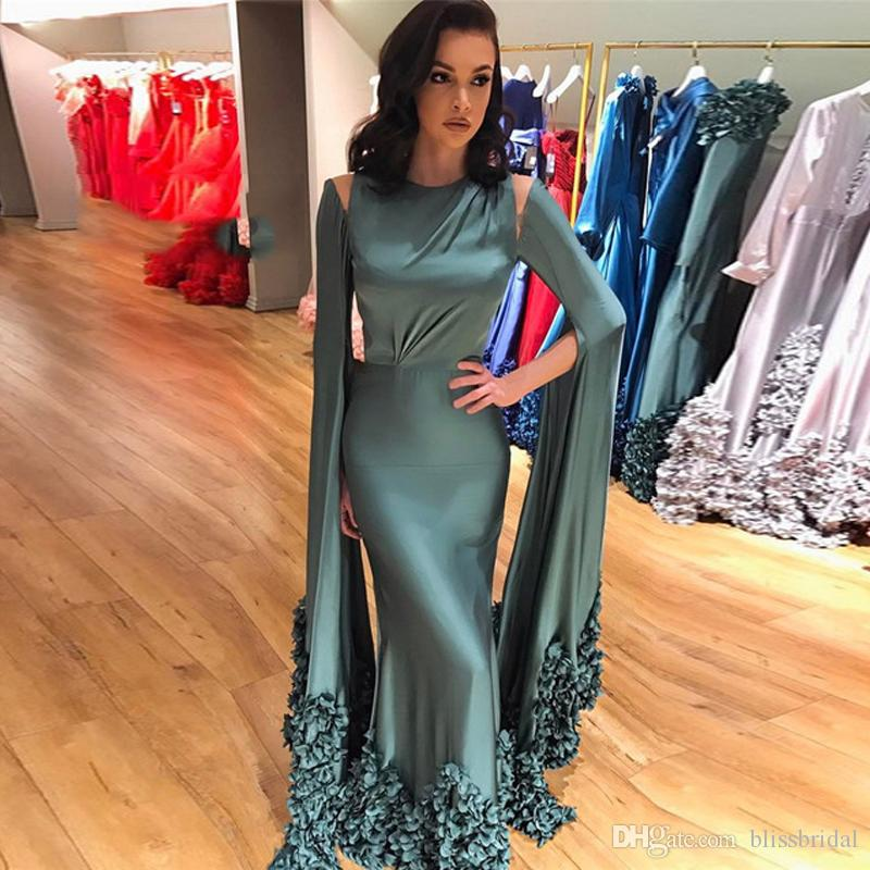 Beautiful Long Sleeved Mermaid Formal Jalabiya Evening Party Dress With Cape Floral Turkish Evening Gowns Dresses Lebanon Dubai