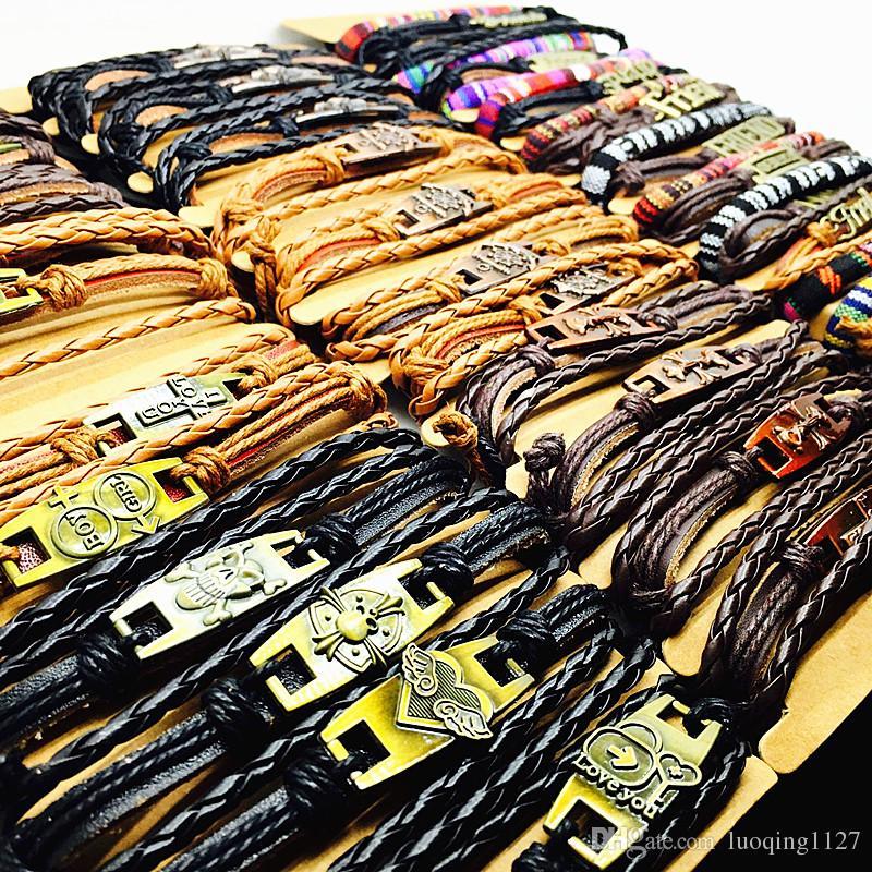 lotti all'ingrosso mescolano gli stili Surfer mens dei braccialetti dei monili del polsino fatti a mano dei polsini del cuoio del metallo di modo delle donne