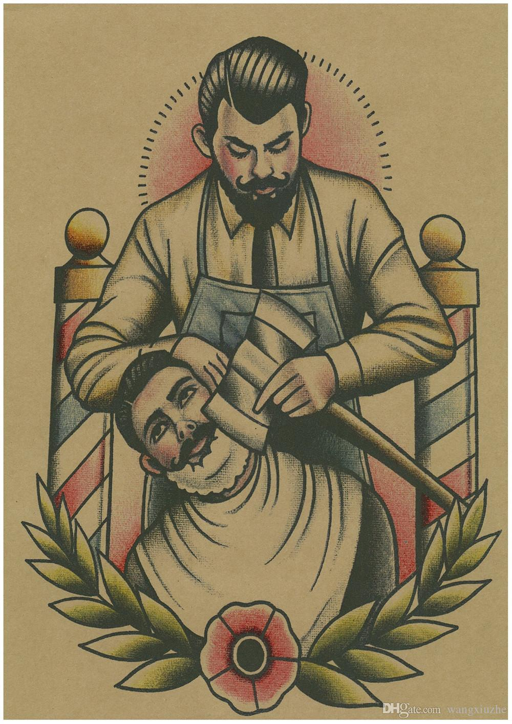 spedizione gratuita Vintage Parrucchiere Tatuaggi a fantasia Poster Carta kraft Pittura d'interni Restauro Adesivo da parete Negozio di barbieri Decorazione domestica