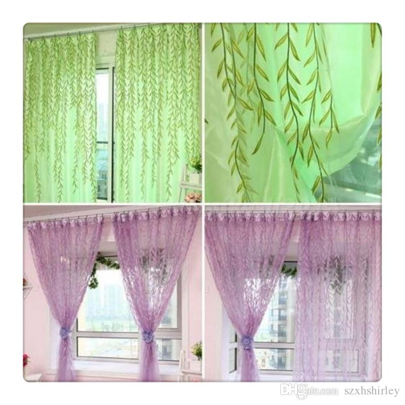 2017 Hot Comemall Tulle CatkinsDoor Balcony Sheer Curtains Willow Pattern  Voile Sheer Scarfs Window Screens Valance For Bed Living Room