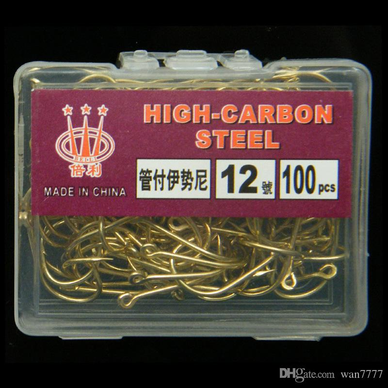 /10box 3-12# Gold Ise Hook High Carbon Steel With Hole Barbed Hooks Fishing Hooks Pesca Carp Fishing Tackle